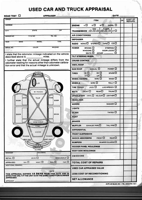 Used Vehicle Appraisal Forms Vehicle Appraisal Form Templates