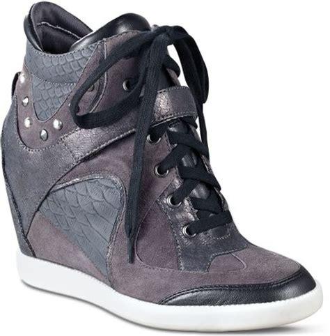 grey wedge sneakers guess wedge sneakers huxley in gray black grey lyst