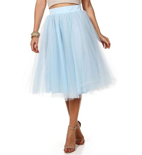 light blue tulle midi skirt