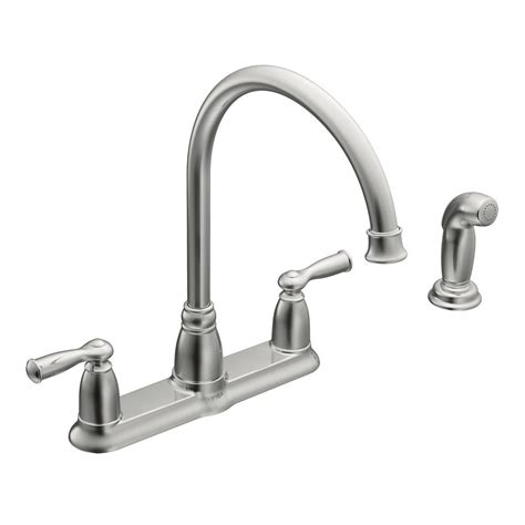 buying a kitchen faucet moen banbury high arc 2 handle standard kitchen faucet with side sprayer in chrome ca87000 the