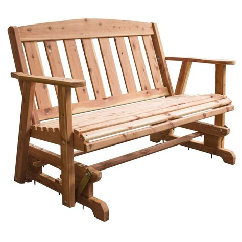 bench glider amerihome amish made unfinished cedar patio glider bench