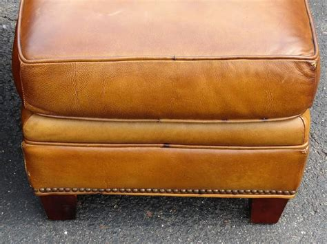 distressed leather ottoman distressed brown leather lounge chair and ottoman at 1stdibs