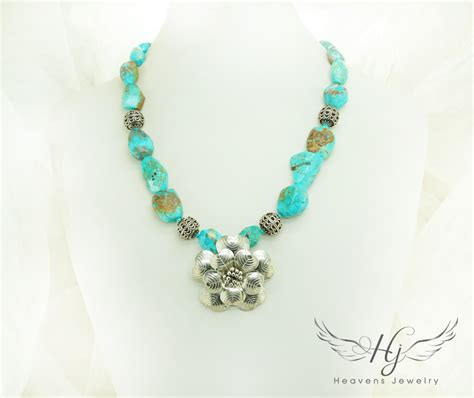 turquoise silver necklace heavens jewelryheavens jewelry