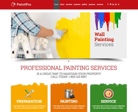 House Painting Website Template Gridgum Painting Website Templates