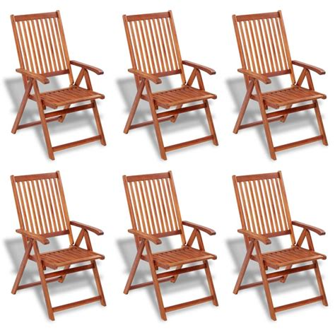 Dining Set 6 Chairs Vidaxl Wooden Outdoor Dining Set 6 Adjustable Chairs 1 Oval Table Vidaxl