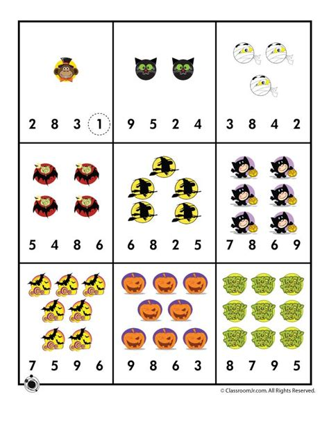 printable halloween games for preschoolers halloween number recognition counting worksheet woo