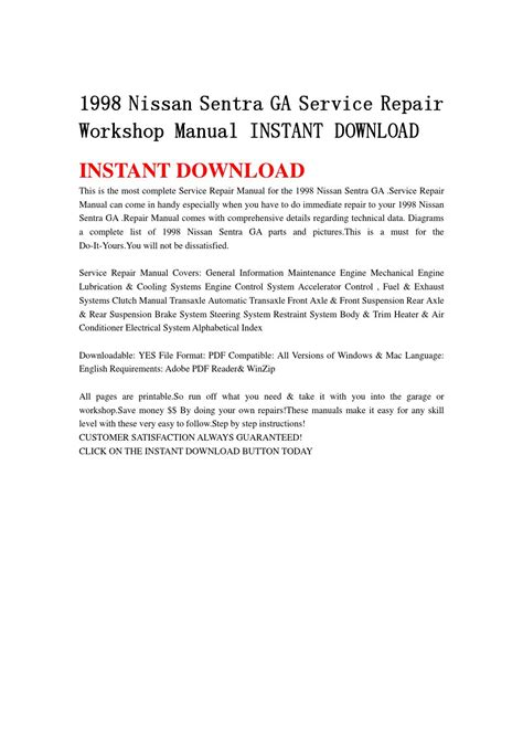 service manual 1998 nissan sentra owners manual free nissan sentra b14 1998 gxe version usa 1998 nissan sentra ga service repair workshop manual instant download by jfnhsemmnf issuu
