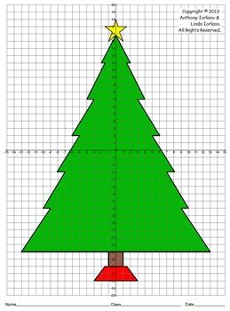 christmas cordation tree four quadrants coordinate drawing graphing mystery picture