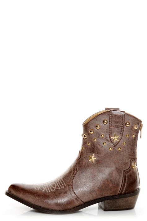 c label denco 1 brown studded ankle cowboy boots 57 00