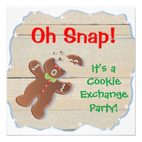 oh snap christmas cookie exchange party invitation 5 25