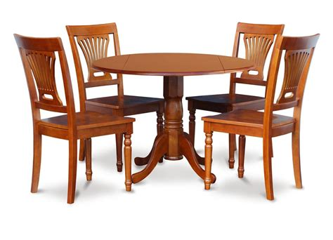 """5PC 42"""" ROUND DINETTE DINING TABLE with 4 PLAIN WOOD SEAT"""