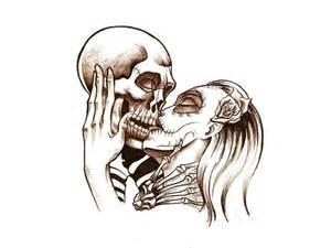 free designs male and female skull kiss tattoo wallpaper