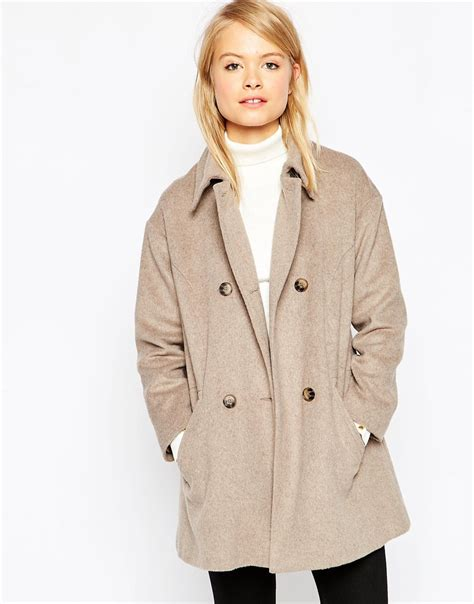 camel swing coats for ladies asos jacket in swing shape with double breasted detail in