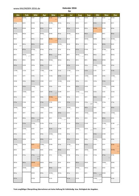 A4 Kalender 2016 Kalender 2016 Zum Ausdrucken Pdf Vorlagen