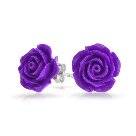 Flower Studs 925 sterling silver purple amethyst color flower stud