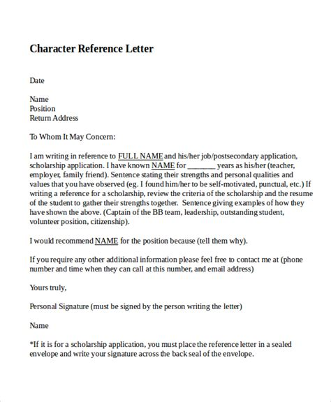 Character Reference Letter To Keep Someone Out Of 9 Character Reference Letter Template Free Sle Exle Format Free Premium Templates