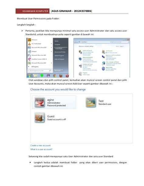 langkah langkah membuat jaringan lan di warnet membuat user permissions pada folder windows