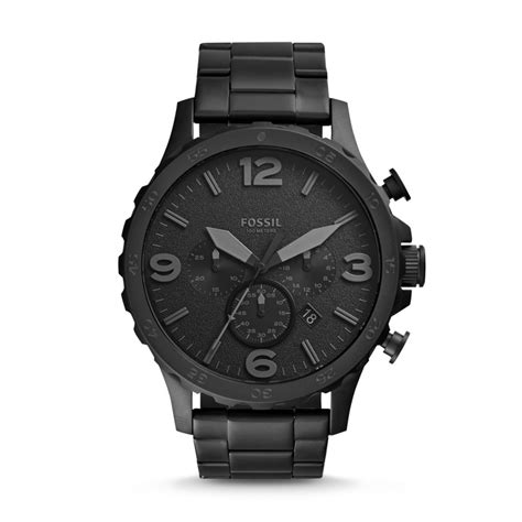 Fossil Black fossil nate chronograph stainless steel black