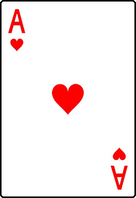 Ace Cards Template by Ace Of Hearts Card Free Clip