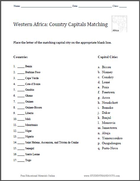 Grade 4 History Worksheets South Africa by West Capitals Matching Worksheet Student Handouts