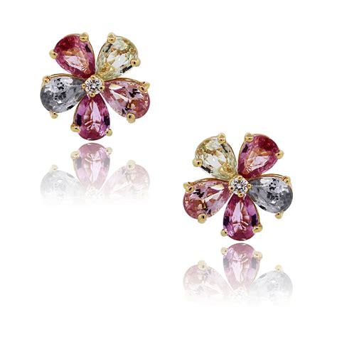 flower design ear studs bulgari sapphire and diamond flower stud earrings