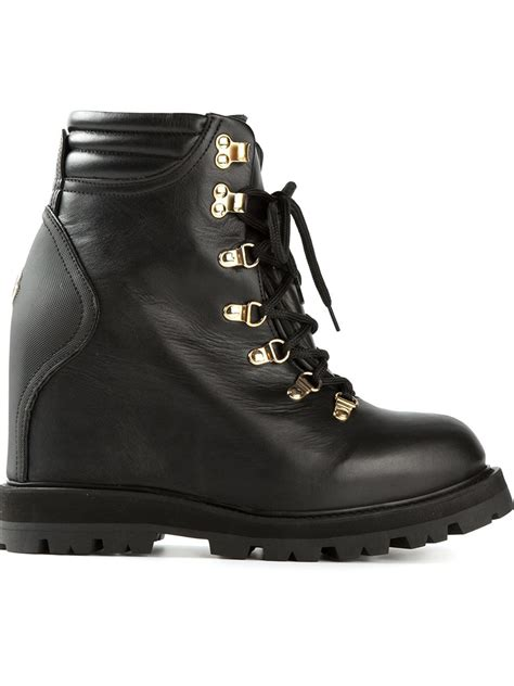 moncler boots moncler concealed wedge lace up boots in black lyst