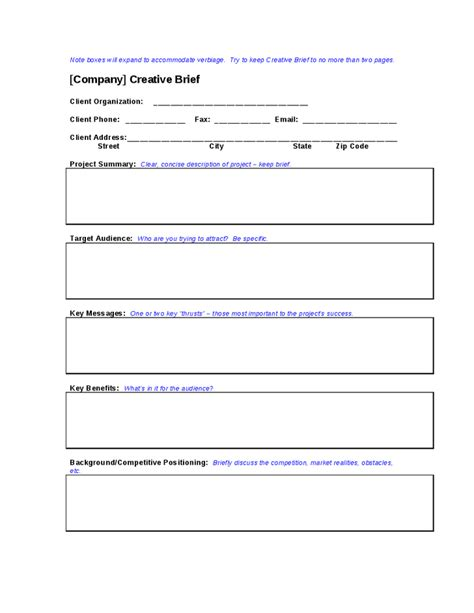 copy brief template 28 copy brief template creative brief template 8