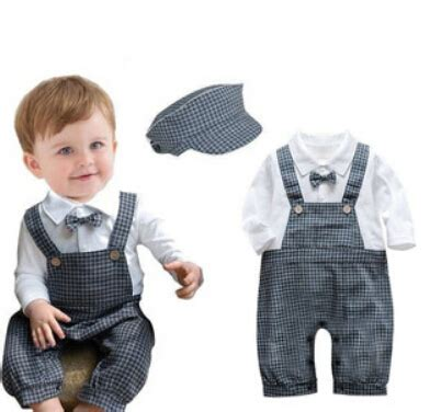 Jumper Suit For Baby Born 1 gentleman baby rompers boy suspenders bow tie hat overall infant jumper 2016 new born baby