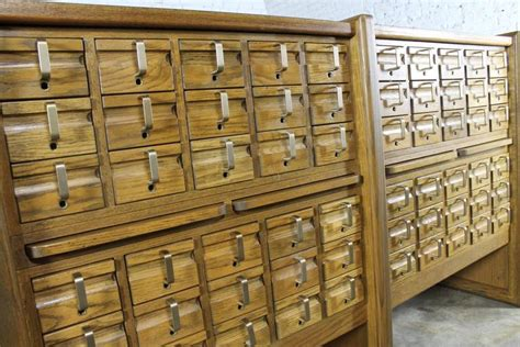 Vintage Oak 60 Drawer Library Card Catalog Cabinet at 1stdibs