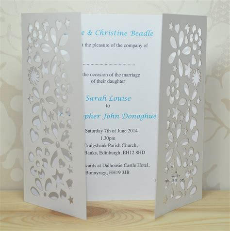 flower laser cut gatefold wedding invitation by sweet pea