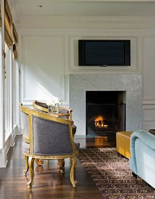 simple marble slab fireplace surround with no mantel