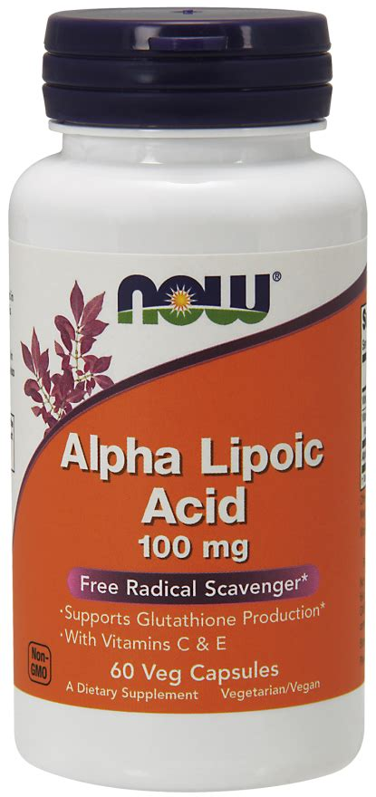 Alpha Lipoic Acid Metal Detox by Alpha Lipoic Acid 100 Mg Veg Capsules Now Foods