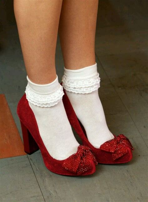 socks for high heels ruby heels with frilly white socks fall winter style