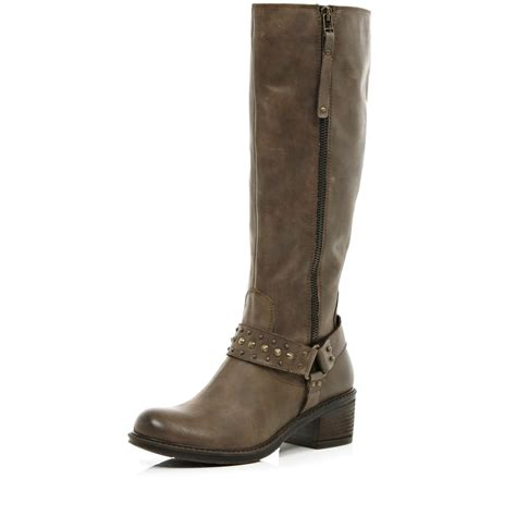 river island brown western stud knee high boots in brown