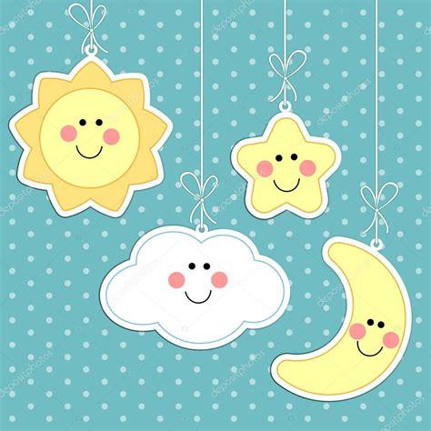 sol y la luna nubes estrellas vector de stock 169 son fondo de beb 233 3 vector de stock 169 ishkrabal 44322691