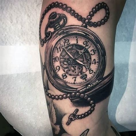 wonderful simple pocket clock tattoo design image