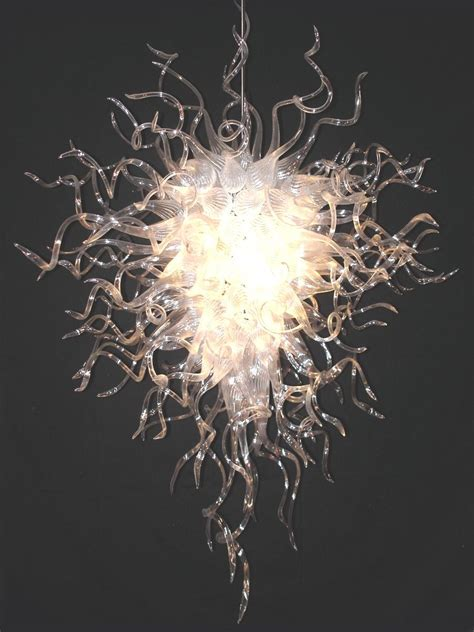 handmade blown glass entryway chandelier by seth