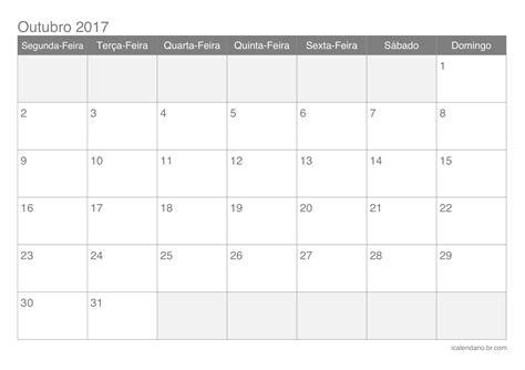 Calendario Lunar Outubro 2017 Calend 225 Outubro 2017 Para Imprimir Icalend 225 Br