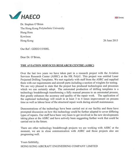 Service Letter Boeing Aviation Services Research Centre Letter From Haeco