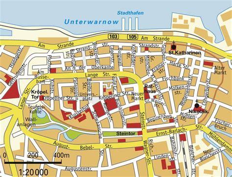 wohnungen in warnemünde stadtplan rostock detaillierte gedruckte karten