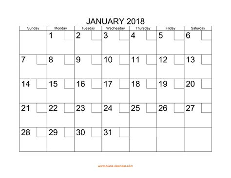 printable calendar with large boxes free download printable calendar 2018 with check boxes