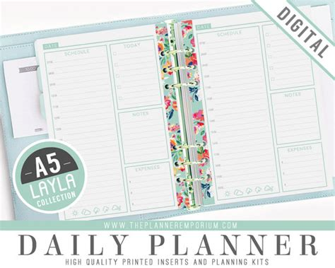 printable daily planner inserts a5 daily planner inserts layla collection fits kikki k