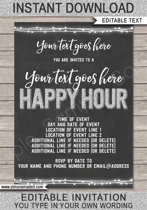 Happy Hour Invite Template Printable Happy Hour Invitation Free Happy Hour Invitation Template