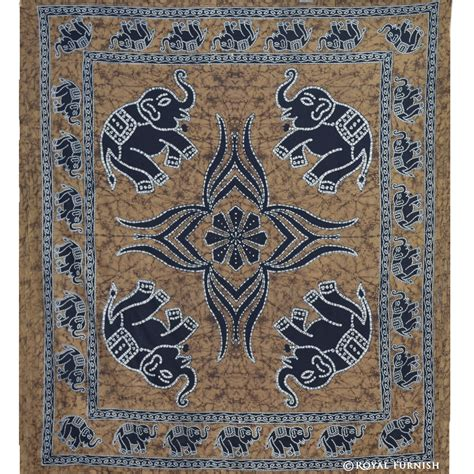 Blue Ombre Bedding Indian Elephant Handloom Hippie Tapestry Wall Hanging For