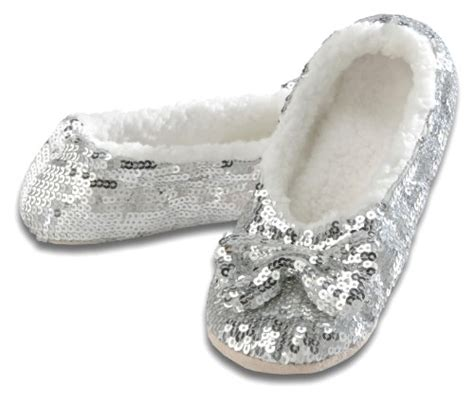 snoozies sequin slippers snoozies ballerina bling metallic shine womens cozy