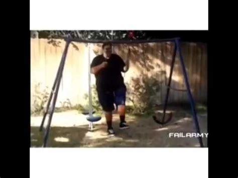 swing guys destroys swing set