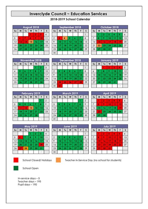 Calendar 2018 Uk School Holidays Inverclyde Council School Holidays