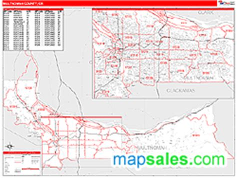 multnomah county map oregon multnomah county or zip code wall map line style by