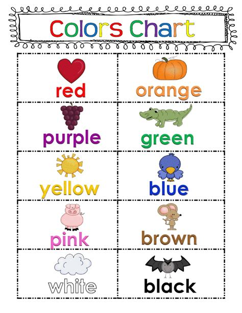 the color of my words freebie color chart classroom ideas