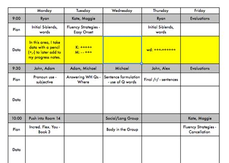 speech therapy lesson plan template free see your week at a glance use this template to plan